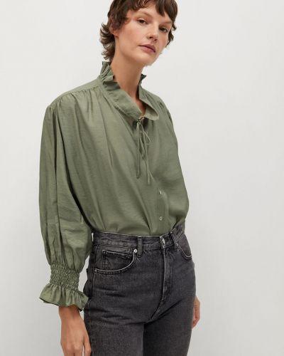 Bluzka z długimi rękawami z falbanami z wiskozy Mango