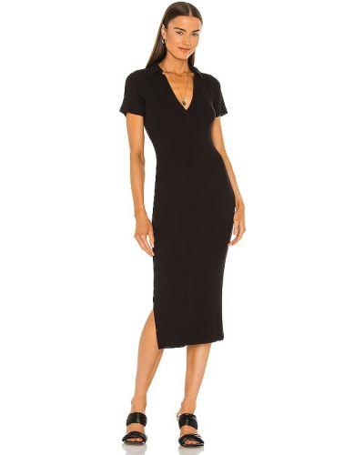 Трикотажное черное платье миди для полных Lna