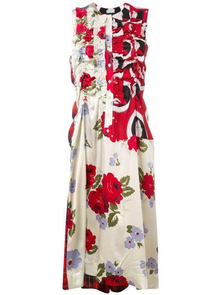 Приталенное шелковое платье миди на пуговицах с воротником Simone Rocha