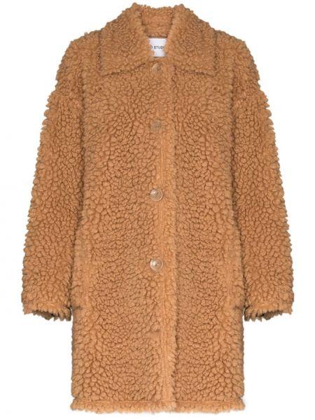 Klasyczny brązowy płaszcz z długimi rękawami Stand Studio