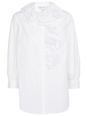 Хлопковая рубашка - белая Oscar De La Renta