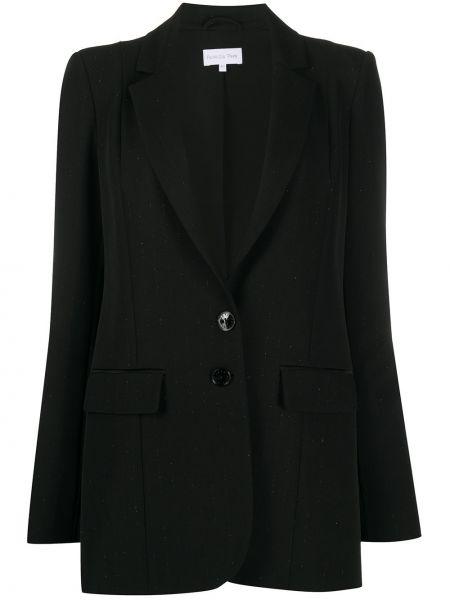 Черный классический пиджак с воротником на пуговицах со вставками Patrizia Pepe