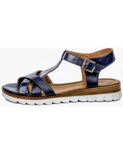 Синие кожаные сандалии Pandora