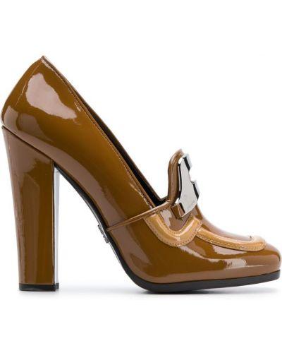 Коричневые лоферы на каблуке винтажные Prada Pre-owned