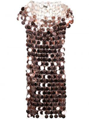 С рукавами розовое платье мини круглое Paco Rabanne