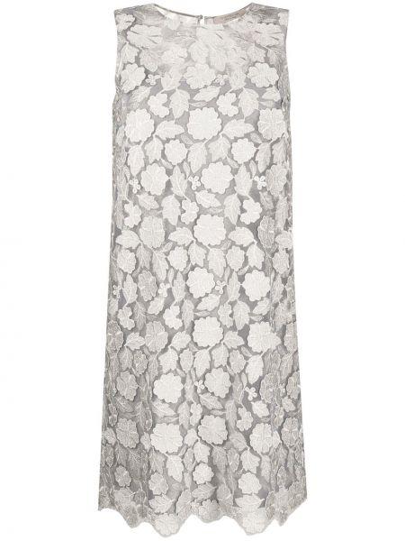 Серое шелковое кружевное платье D.exterior
