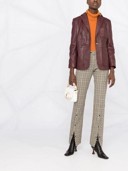 Однобортный красный удлиненный пиджак с карманами L'autre Chose