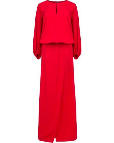 Шелковое с рукавами вечернее платье с поясом Chapurin
