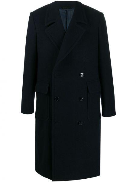Niebieski płaszcz wełniany z długimi rękawami Mp Massimo Piombo