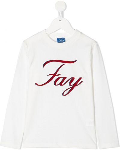 Белая хлопковая прямая футболка с круглым вырезом Fay Kids