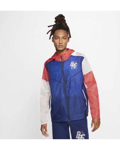 Niebieska kurtka sportowa do biegania z raglanowymi rękawami Nike