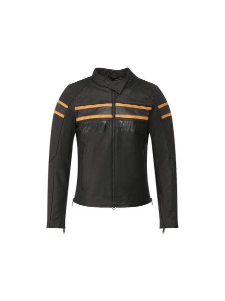 Приталенная черная кожаная куртка на молнии с карманами Harley Davidson