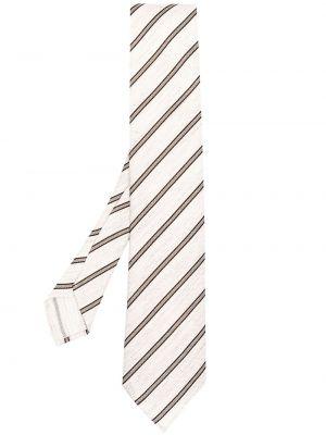 Czarny krawat z jedwabiu z printem Lardini