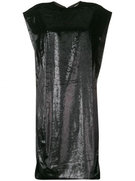 Черное платье миди с вырезом с короткими рукавами трапеция Poiret