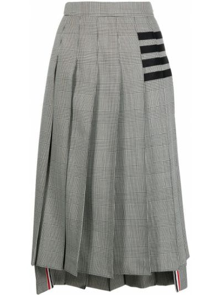 Шерстяная юбка миди - черная Thom Browne