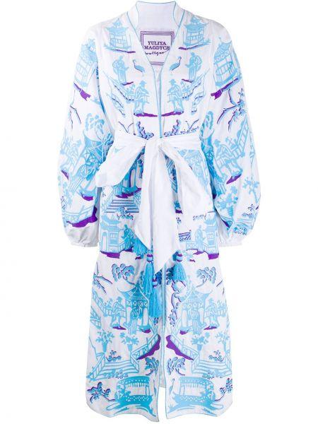 Платье с вышивкой с V-образным вырезом свободного кроя на молнии Yuliya Magdych