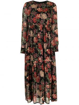 Платье миди в цветочный принт - черное Antonio Marras