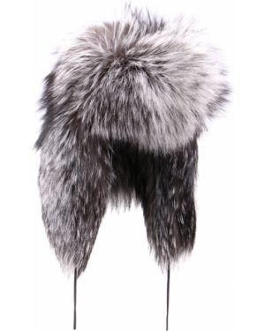 Теплая серая шапка-ушанка из лисы Gianfranco Ferre