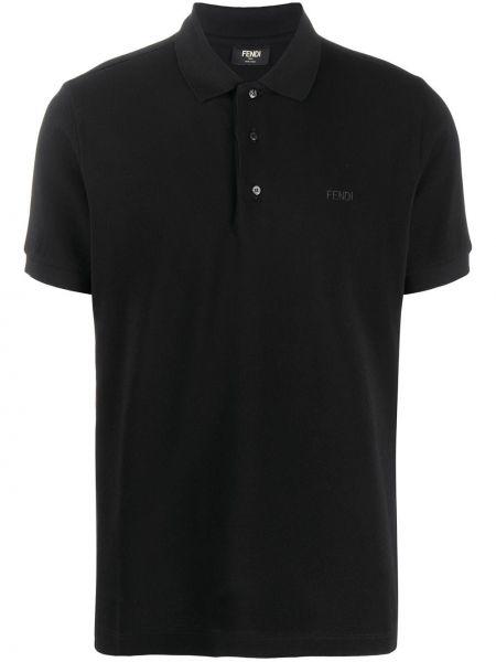 Koszula krótkie z krótkim rękawem klasyczna czarna Fendi