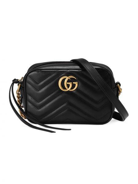 Черная стеганая маленькая сумка с вышивкой металлическая Gucci