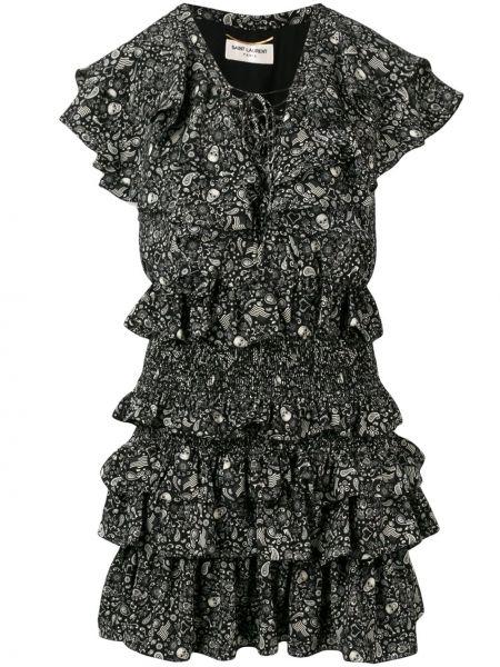 Платье мини на шнуровке с V-образным вырезом Saint Laurent