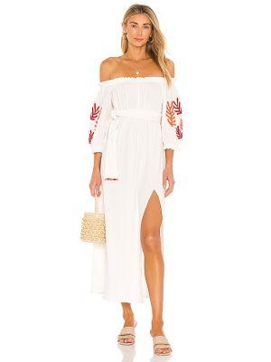 Белое платье с вышивкой с декольте Sundress