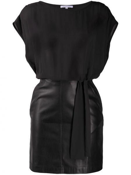 С кулиской черное приталенное платье с вырезом Patrizia Pepe