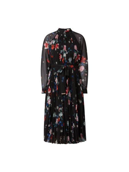 Czarna sukienka midi rozkloszowana z szyfonu Ted Baker