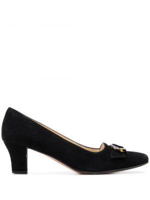 Черные кожаные туфли с бантом на каблуке Salvatore Ferragamo Pre-owned