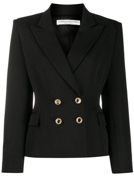 Шерстяная черная длинная куртка двубортная Alessandra Rich
