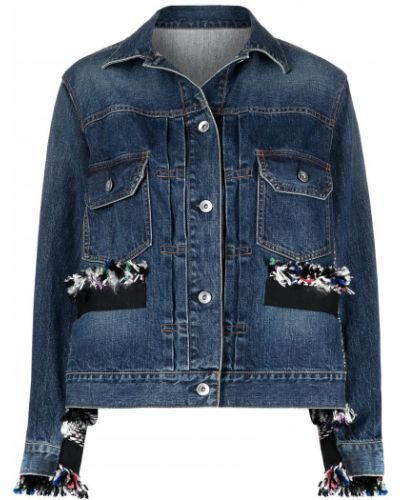 С рукавами синяя джинсовая куртка с воротником Sacai