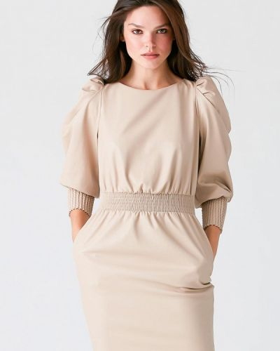 Бежевое кожаное платье Love Republic