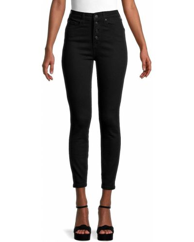 Черные джинсы стрейч с заплатками True Religion