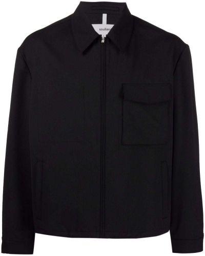 Czarna koszula materiałowa Soulland