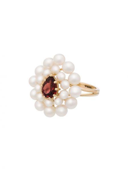 Кольцо с гранатом золотое без застежки Anissa Kermiche