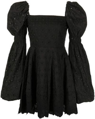 Расклешенное черное платье мини квадратное Caroline Constas