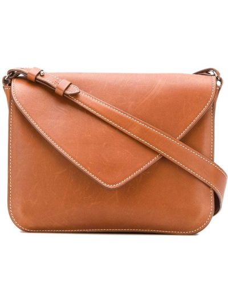 Коричневая сумка на плечо на молнии с карманами Holland & Holland