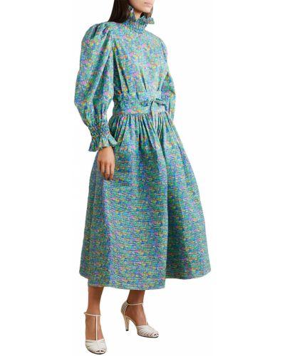 Niebieska bluzka bawełniana z printem Horror Vacui