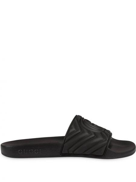 Стеганые черные шлепанцы с открытым носком без застежки Gucci