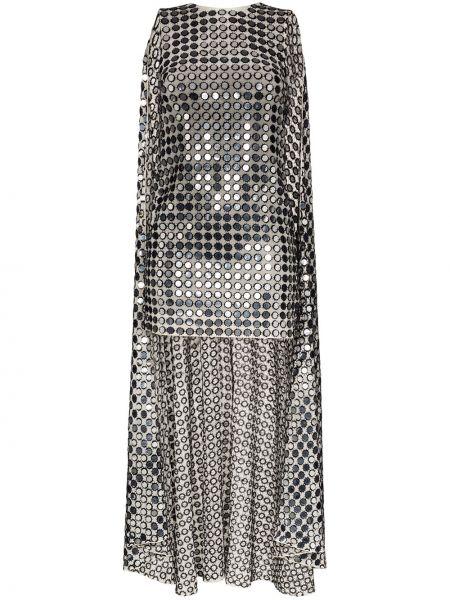 Приталенное серое платье мини с пайетками с драпировкой Ashish