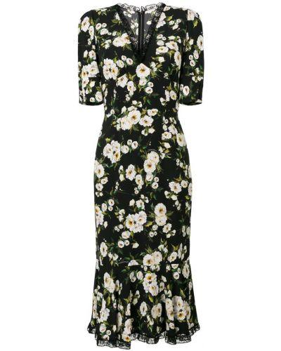 Платье мини с цветочным принтом с V-образным вырезом Dolce & Gabbana