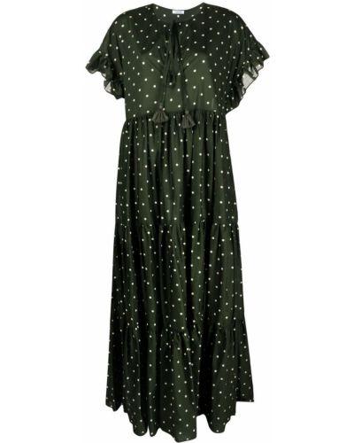 Зеленое платье мини в горошек с короткими рукавами P.a.r.o.s.h.