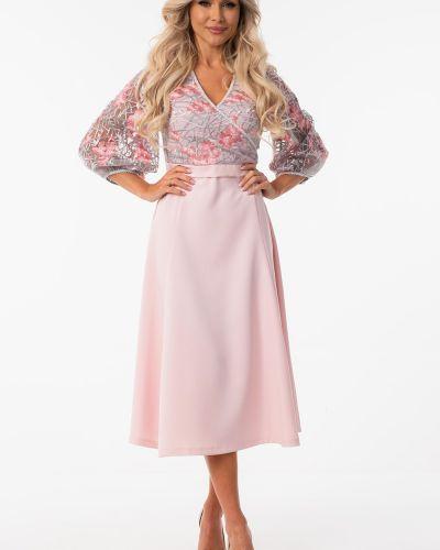 Кружевное с рукавами вечернее платье с V-образным вырезом с манжетами Wisell