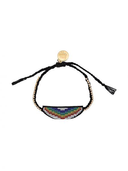 Черный золотой браслет с бисером Venessa Arizaga