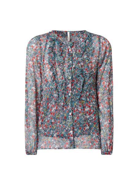 Szyfon niebieski bluzka z długim rękawem z falbankami z dekoltem Pepe Jeans