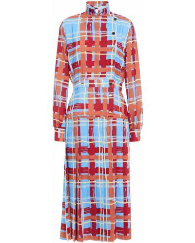 Плиссированное синее платье миди из крепа Stella Jean