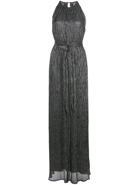 Черное расклешенное платье макси без рукавов с вырезом Halston Heritage