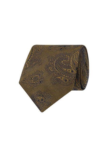 Klasyczny żółty krawat z jedwabiu Seidenfalter