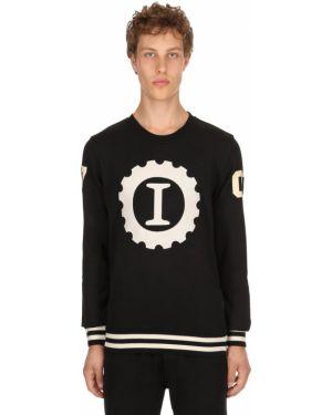 Czarna bluza bawełniana z printem Hydrogen