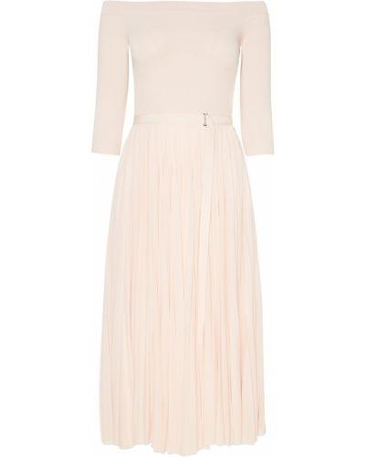 Платье миди розовое из вискозы Alexander Mcqueen